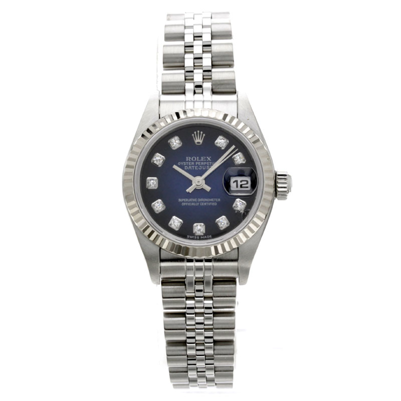 79174G ROLEX Oyster Perpetual Datejust blue gradient watch stainless steel ladies
