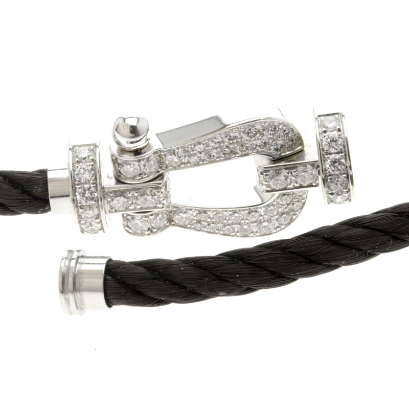 10 FRED force full diamond double cord bracelet K18 white gold men upup7
