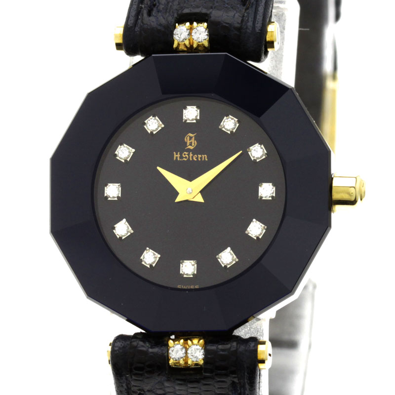 H.Stern钻石手表K18黄色黄金/黑皮革女士