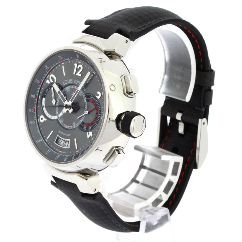 Authentic LOUIS VUITTON Provo wire Joo world limitation Q102N Watch Stainless Leather an automatic Men