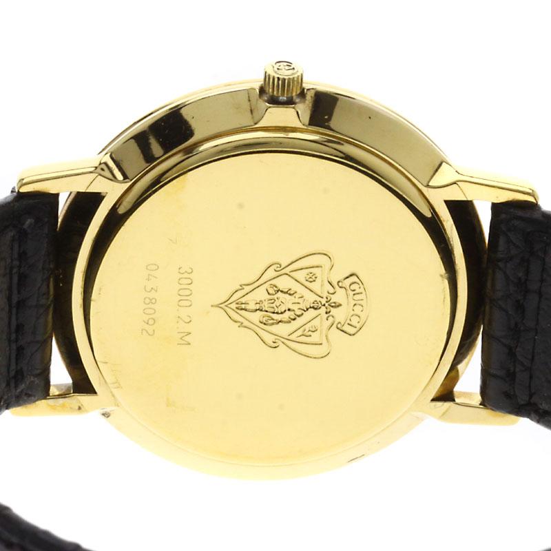 Authentic GUCCI 3000-2M Watch Gold Plated Leather Quartz Men