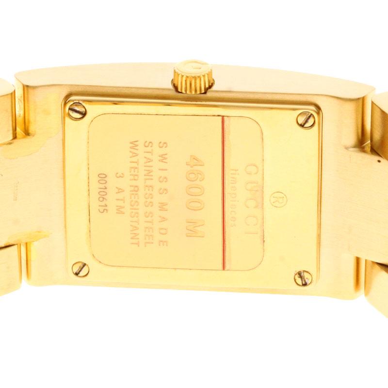 Authentic GUCCI 4600M Watch Gold Plated  Quartz Men