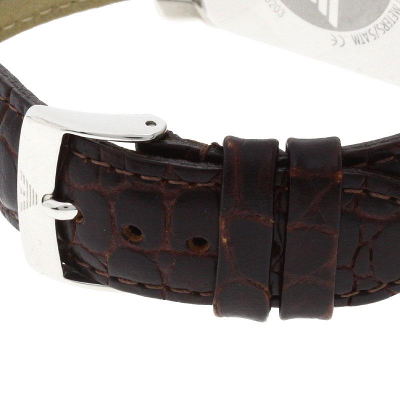 Emporio Armani AR0203手表不锈钢/茶皮革人