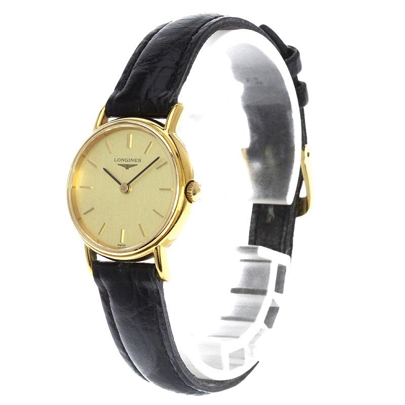 浪琴表 L4.137.2 手表不锈钢 / 皮革妇女 fs04gm