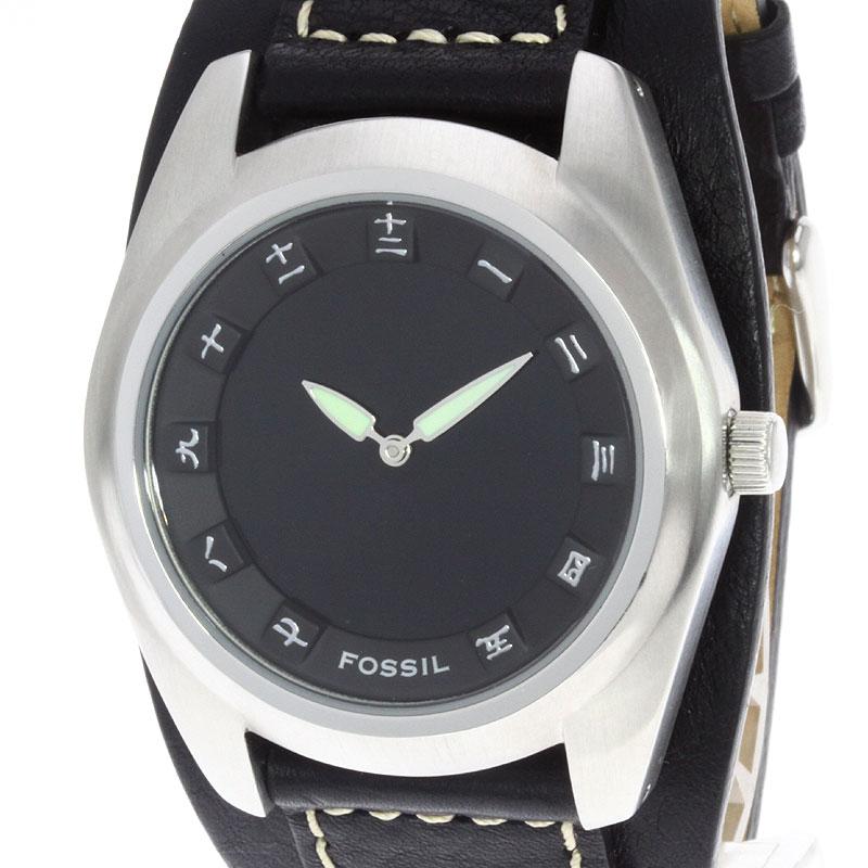 男子的FOSSIL BG-2065手表黑色皮革/SS fs04gm