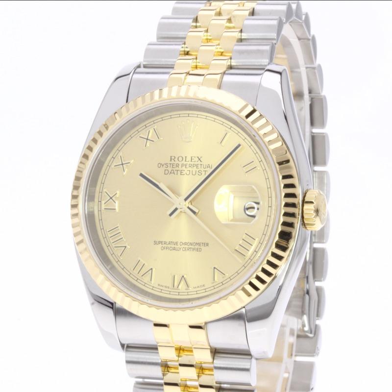 劳力士 116233 香槟罗马日志型手表 K18 黄色 /SS 男装 fs04gm