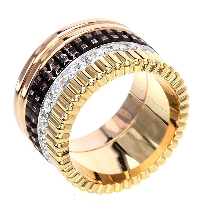 Authentic Boucheron  Cattle LM Diamond Ring 18K Yellow Gold 18K Pink Gold
