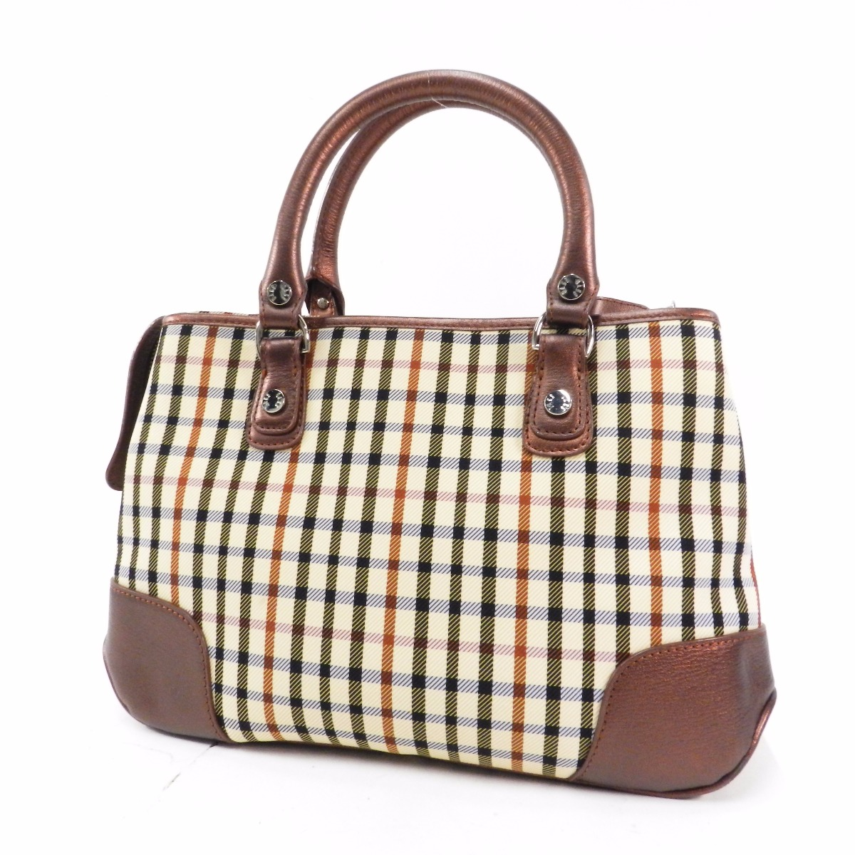 Authentic Daks Check Pattern Handbag Canvas