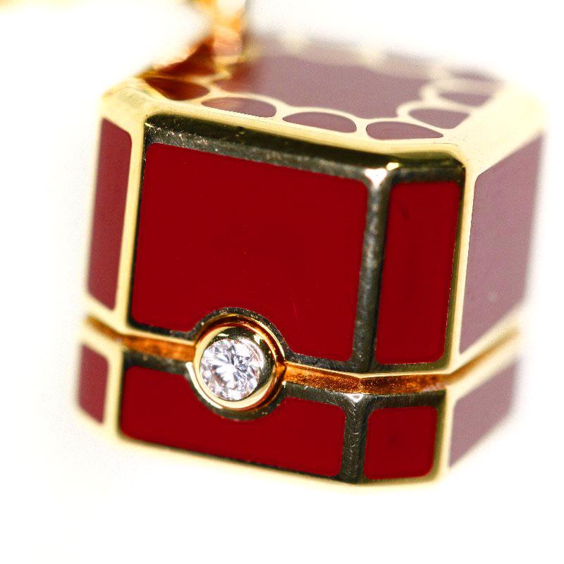 卡地亚 Redbox 魅力和钻石吊坠 K18 18k 金女士