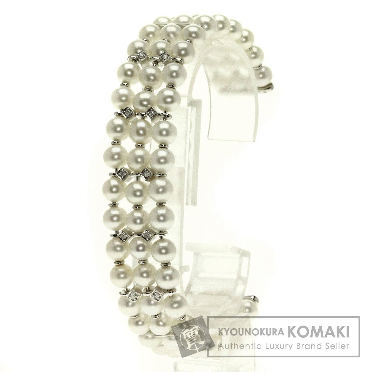 0.14ct 真珠 パール/ダイヤモンド ブレスレット K18ホワイトゴールド 38.1g レディース 【中古】