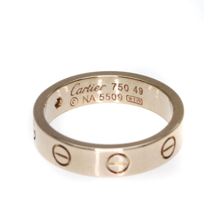 Authentic CARTIER  mini love ring 1P diamond Ring 18K pink gold