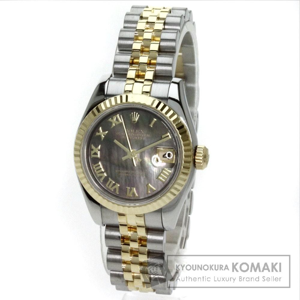 ROLEX 179173NRD デイトジャスト 腕時計 OH済 K18イエローゴールド/SS レディース 【中古】【ロレックス】