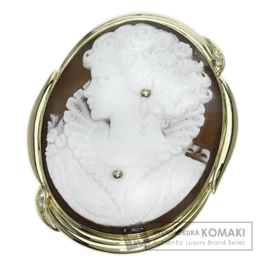 0.07ct カメオ/ダイヤモンド ジュリアーノ ブローチ K18イエローゴールド 27g レディース 【中古】