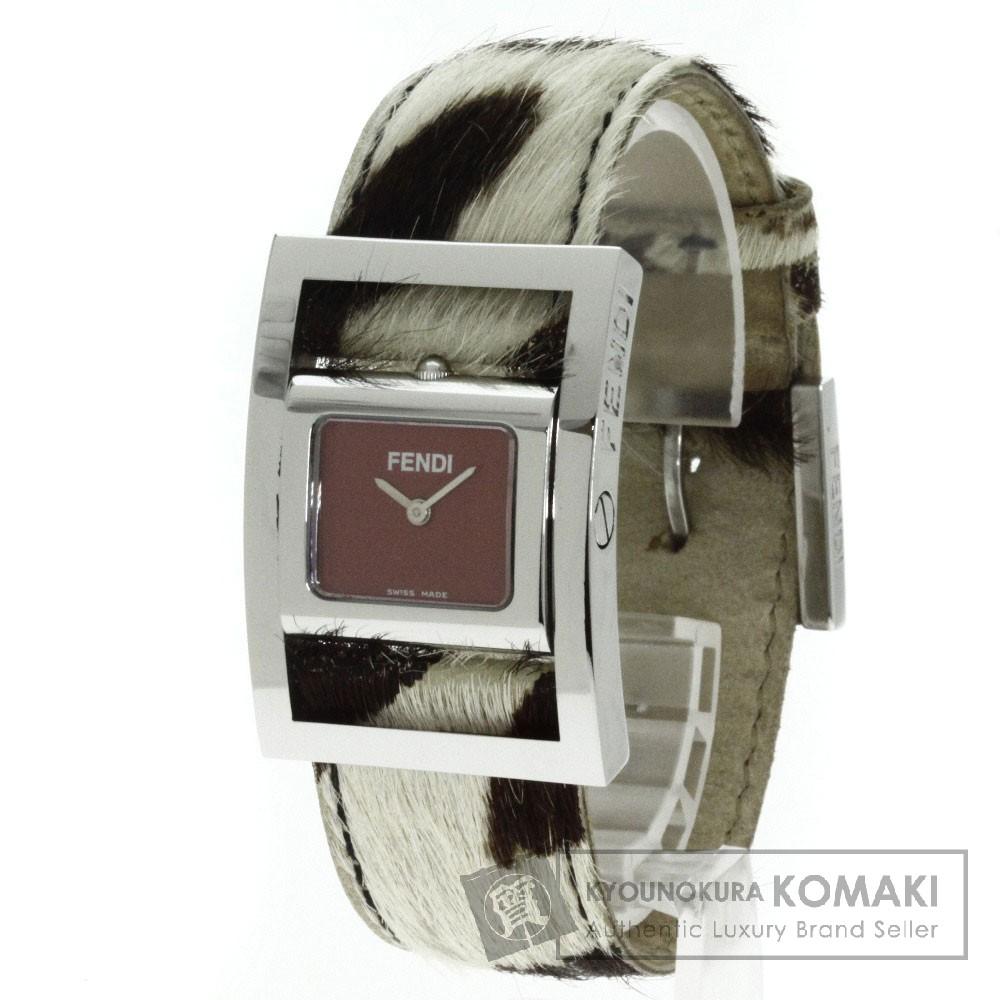 FENDI【フェンディ】 ロゴデザイン 腕時計 ステンレススチール/ハラコ レディース 【中古】