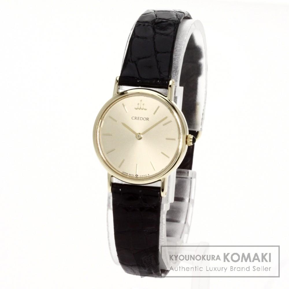 SEIKO 5A70-9120 クレドール 腕時計 K18イエローゴールド/クロコダイル レディース 【中古】【セイコー】