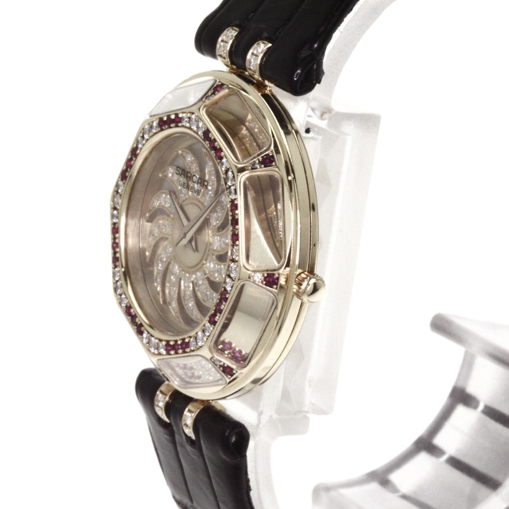 Authentic SARCAR Magic Moon Watches 18K yellow gold Crocodile  Women