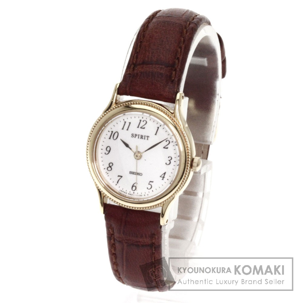 Authentic SEIKO Spirits Watches Gold Plated leather  Women