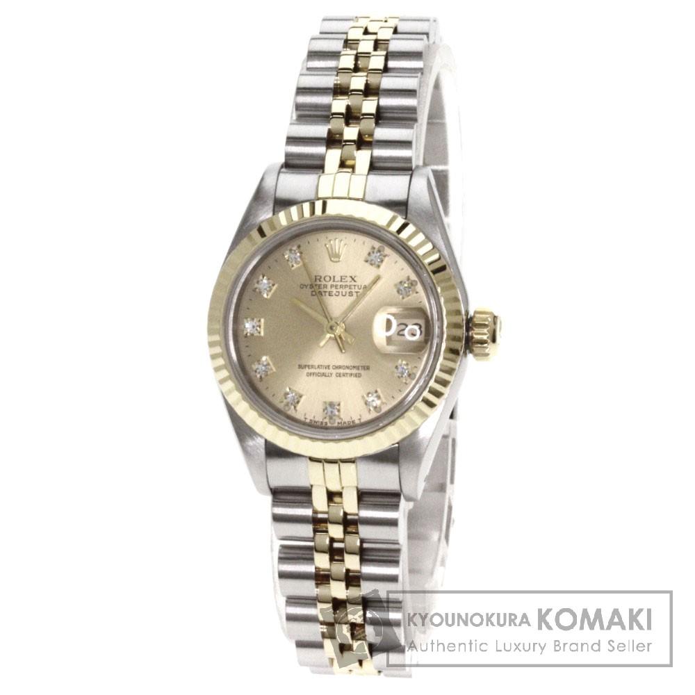 ROLEX【ロレックス】69173G オイスタパーペチュアル デイトジャスト コンビ 10Pダイヤモンド 腕時計 OH済 ステンレス/SSxK18YG/K18YG レディース 【中古】