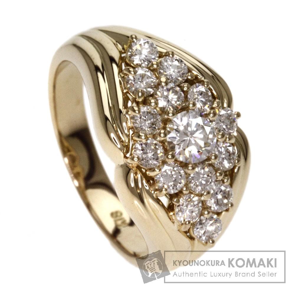 0.234ct ダイヤモンド リング・指輪 K18イエローゴールド 7.8g レディース 【中古】