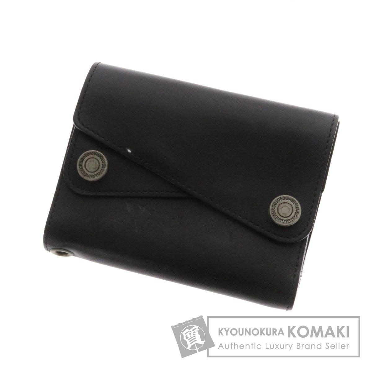6181609189cd D&G コンパクト 二つ折り財布(小銭入れあり) レザー メンズ 【中古】【ディーアンドジー】 熱い販売のための使用可能