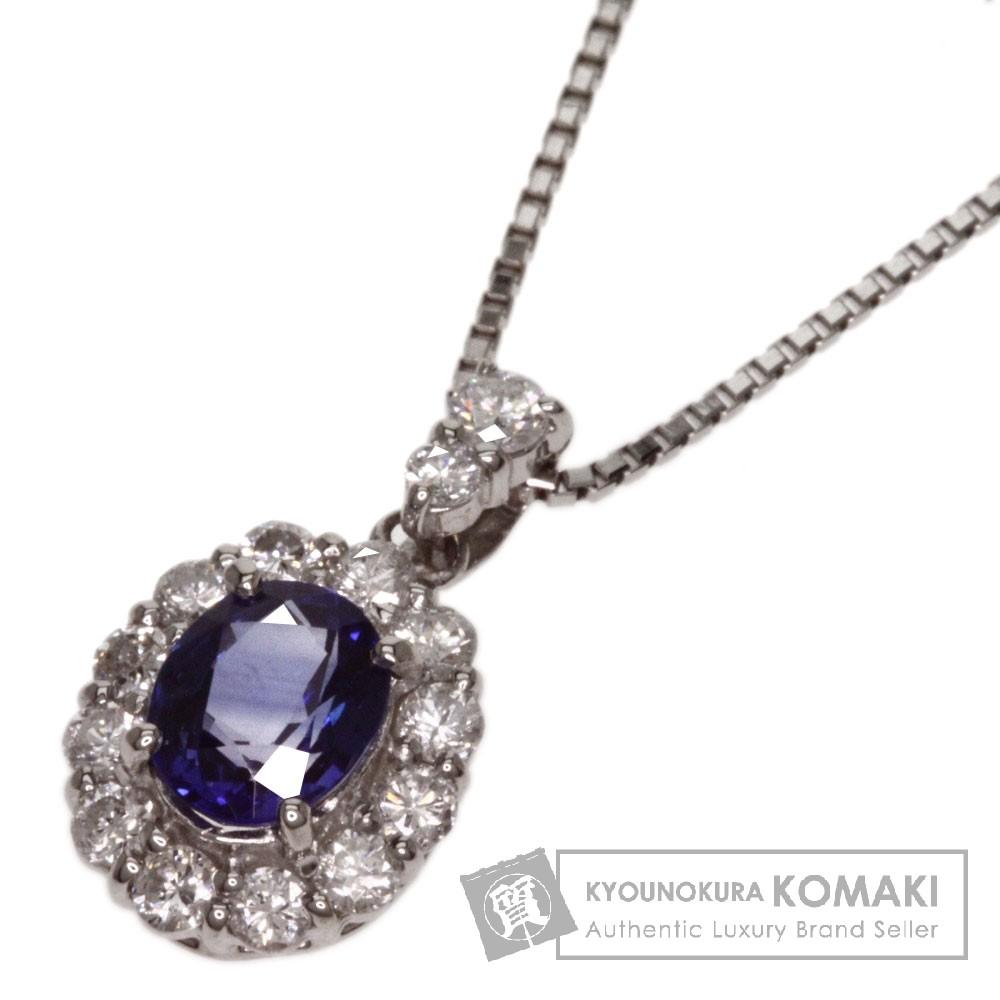0.844ct サファイア/ダイヤモンド ネックレス プラチナPT900/Pt850 4.1g レディース 【中古】