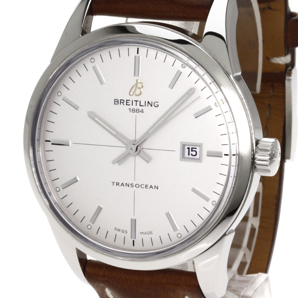 Authentic BREITLING Transocean Watches stainless steel Leather  mens