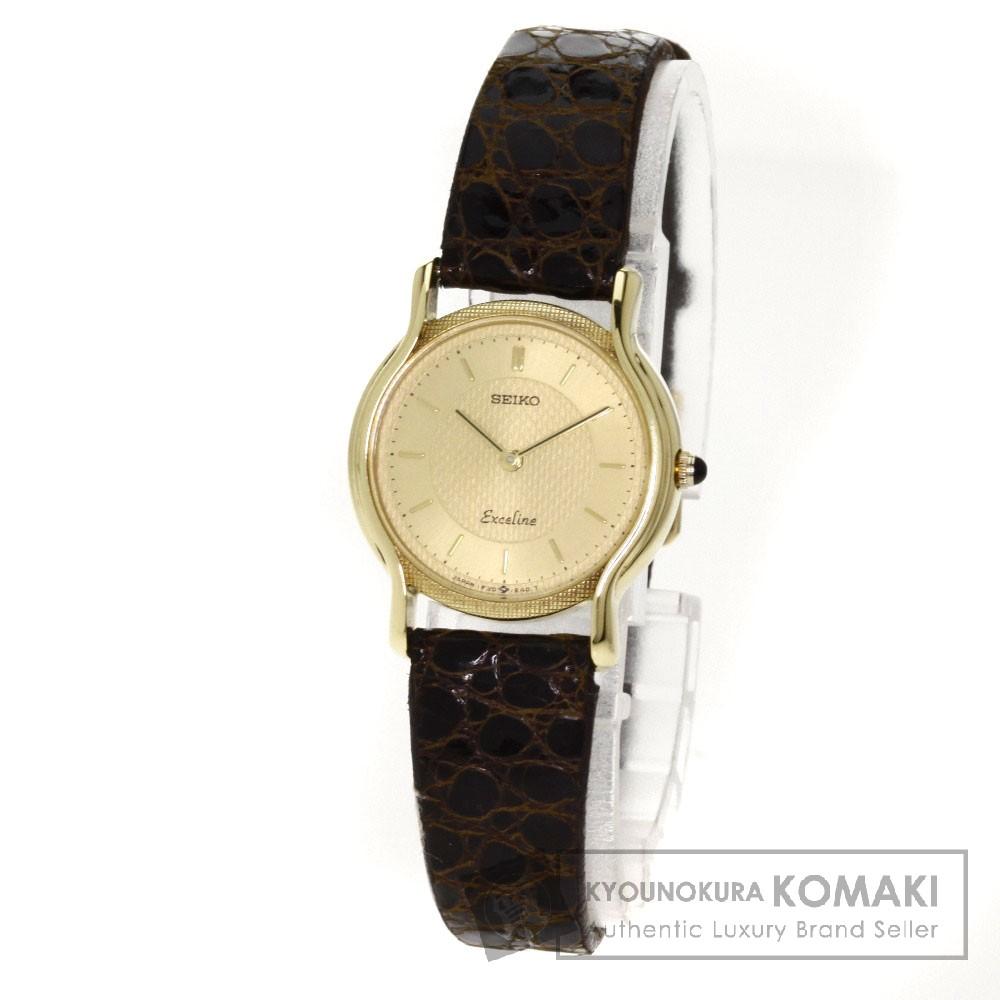 SEIKO エクセリーヌ 腕時計 K18イエローゴールド/アリゲーター レディース 【中古】【セイコー】