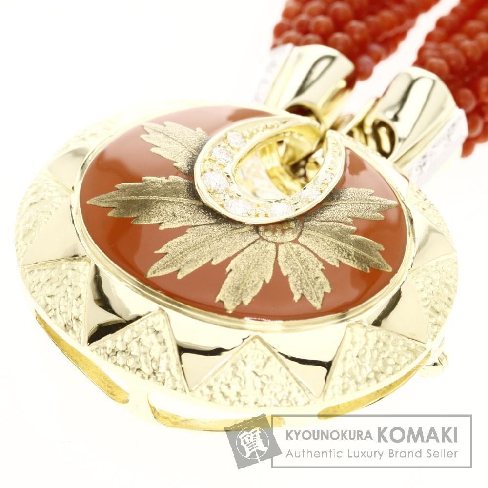 0.18ct サンゴ/ダイヤモンド ネックレス K18イエローゴールド 41.8g レディース 【中古】