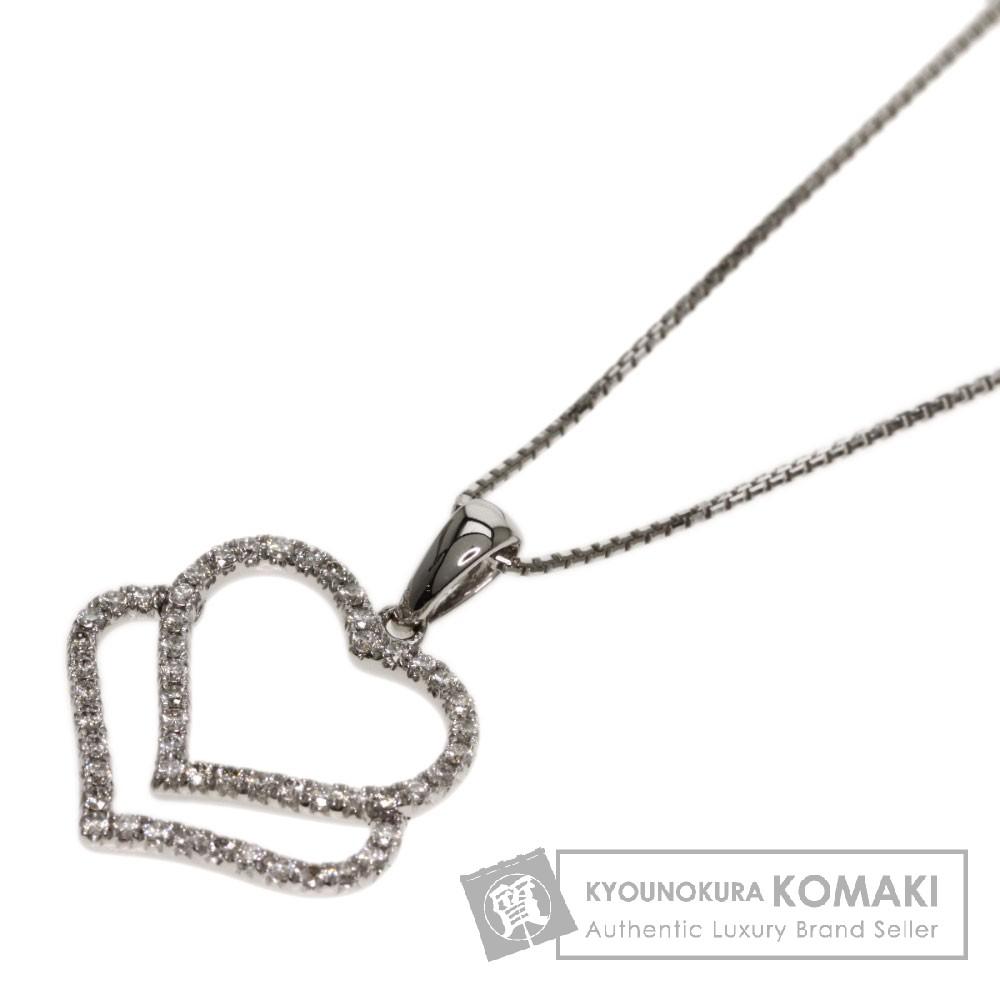 0.2ct ダイヤモンド ネックレス K18ホワイトゴールド 2.8g レディース 【中古】