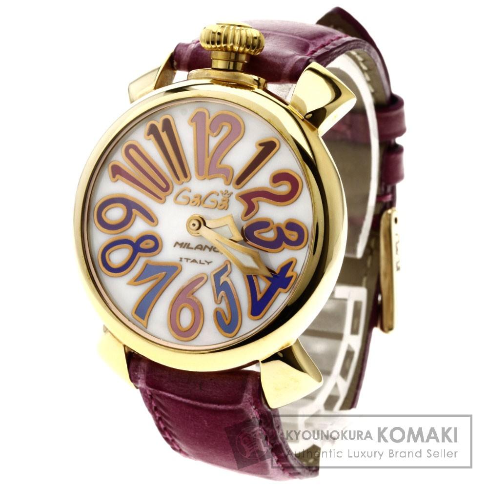 Gaga Milano5021.1 マヌアーレ40 ピンクゴールドIP 腕時計 ステンレス/革 レディース 【中古】【ガガ・ミラノ】