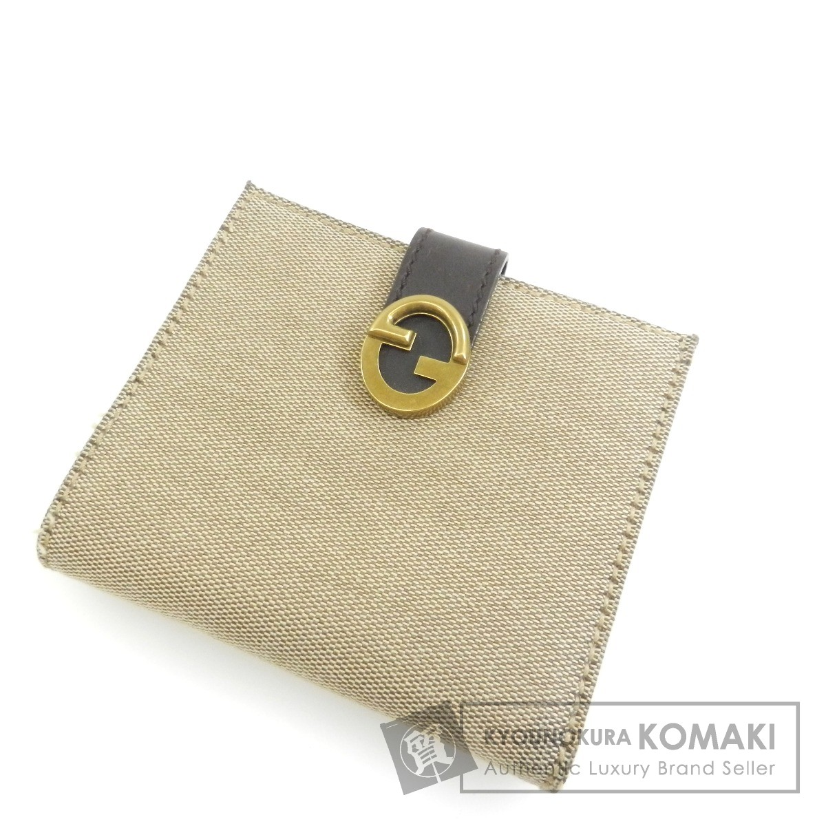 GUCCI ロゴモチーフ 二つ折り財布(小銭入れあり) キャンバス/レザー レディース 【中古】【グッチ】