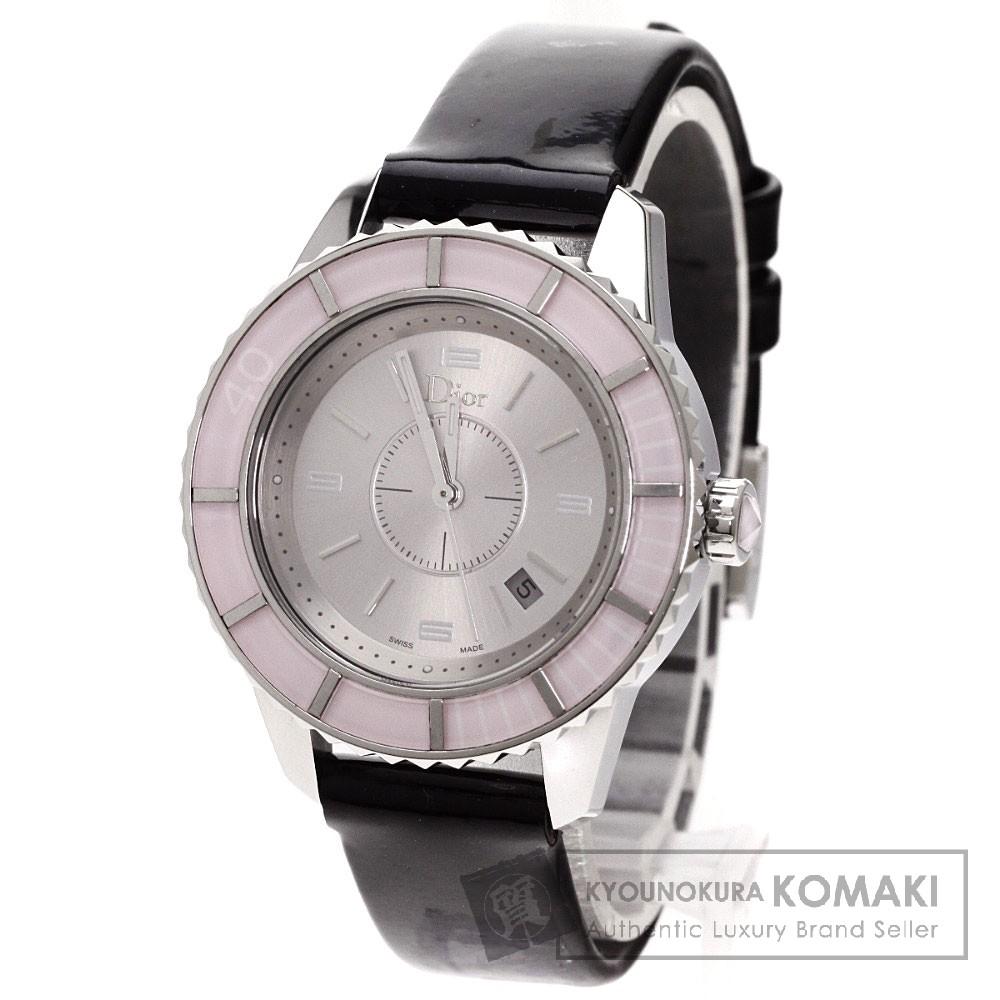 CHRISTIAN DIORCD113114 クリスタル 腕時計 ステンレス/革 レディース 【中古】【クリスチャンディオール】
