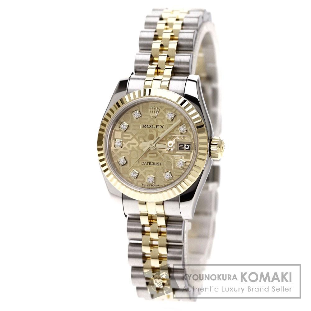 ROLEX 179173G デイトジャスト 腕時計 OH済 K18イエローゴールド/SS レディース 【中古】【ロレックス】