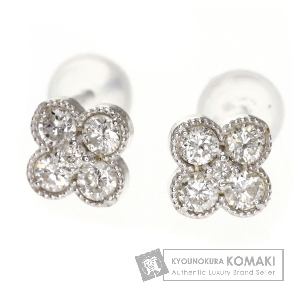 0.3ct ダイヤモンド ピアス K18ホワイトゴールド 0.6g レディース 【中古】