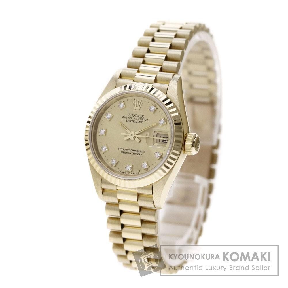ROLEX69178G デイトジャスト 10Pダイヤモンド 腕時計 OH済 K18イエローゴールド/K18YG レディース 【中古】【ロレックス】