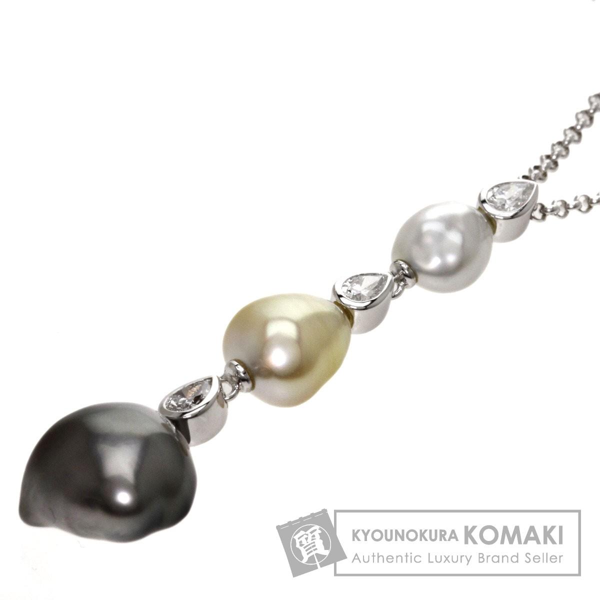 MIKIMOTO 真珠/ダイヤモンド ネックレス K18ホワイトゴールド レディース 【中古】【ミキモト】