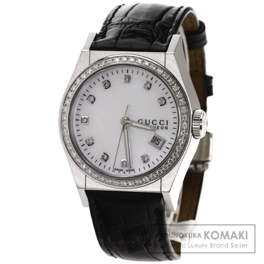 GUCCI YA115.4 パンテオン 10Pダイヤモンド 腕時計 ステンレス/レザー ボーイズ 【中古】【グッチ】