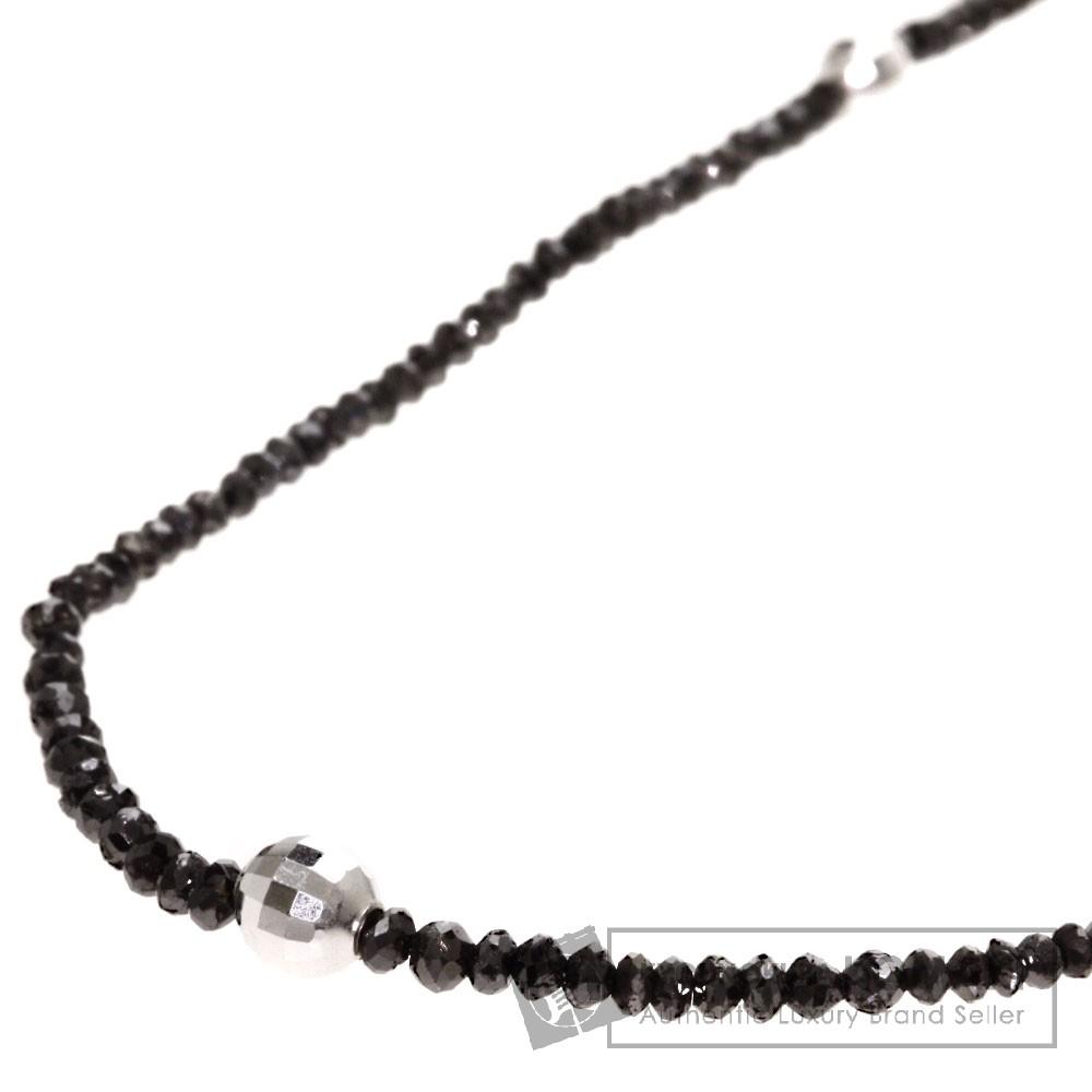 14.15ct ブラックダイヤモンド ネックレス K18ホワイトゴールド 5.8g レディース 【中古】