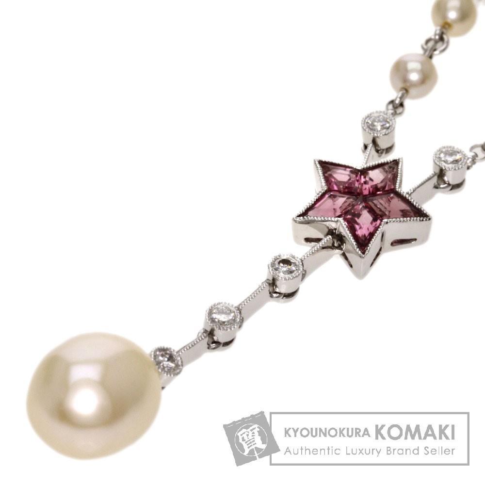 0.18ct 真珠/ダイヤモンド/トルマリン ネックレス K18ホワイトゴールド 12.6g レディース 【中古】