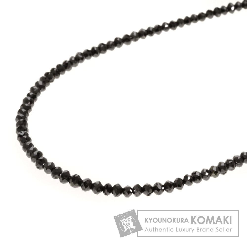 20.75ct ブラックダイヤモンド ネックレス K14ホワイトゴールド 4.8g レディース 【中古】