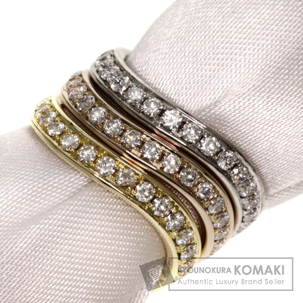 0.45ct ダイヤモンド 3連 リング・指輪 K18ゴールド 9.8g レディース 【中古】