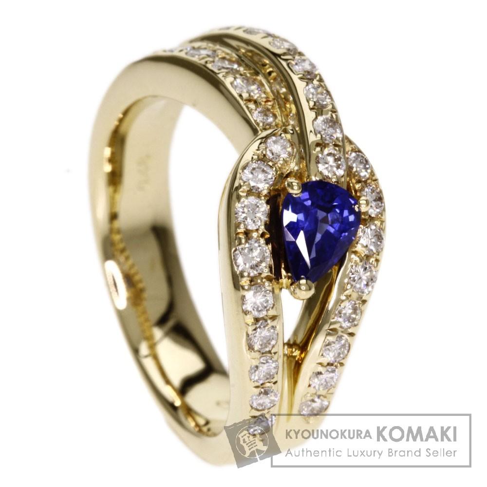 0.42ct サファイア/ダイヤモンド リング・指輪 K18イエローゴールド 6.9g レディース 【中古】
