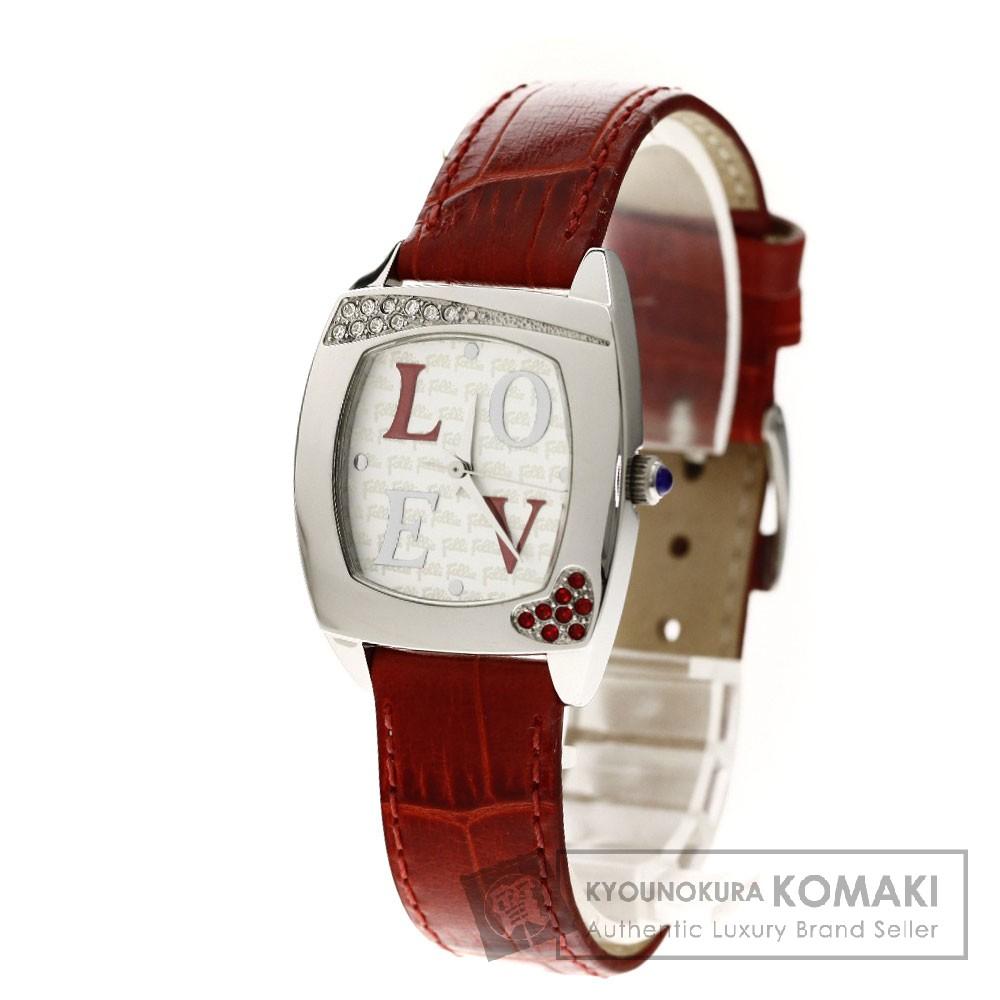 Folli Follie WF5T031SPS LOVE 腕時計 ステンレス/革 レディース 【中古】【フォリフォリ】
