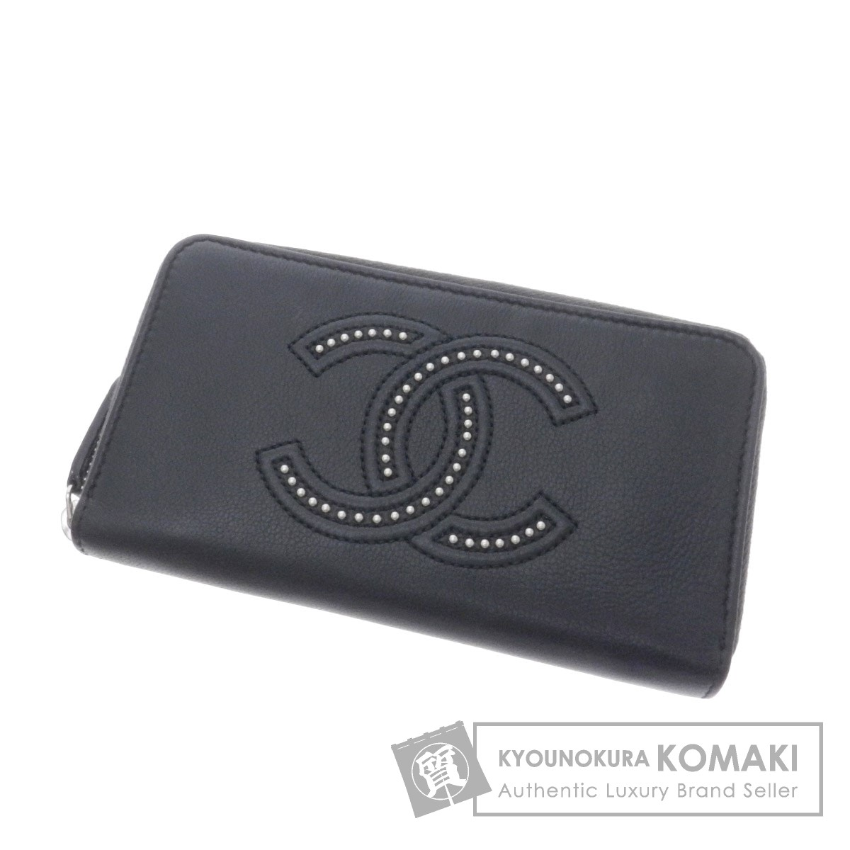 CHANEL ラウンドファスナー 二つ折り財布(小銭入れなし) レザー レディース 【中古】【シャネル】