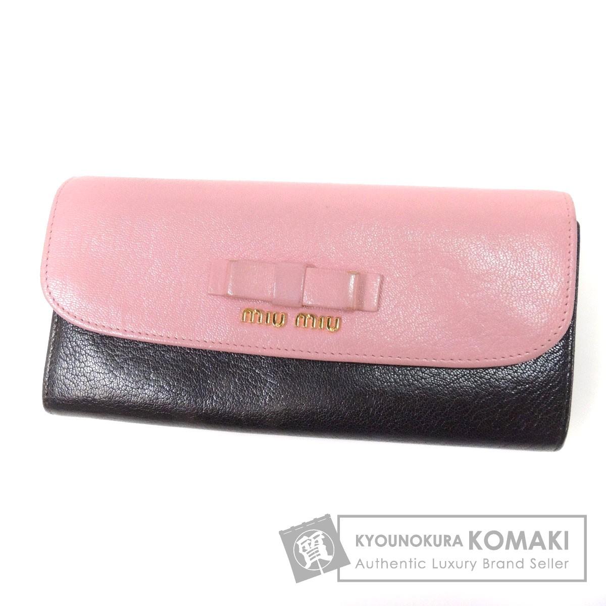 MIUMIU リボンモチーフ 長財布(小銭入れあり) レザー レディース 【中古】【ミュウミュウ】