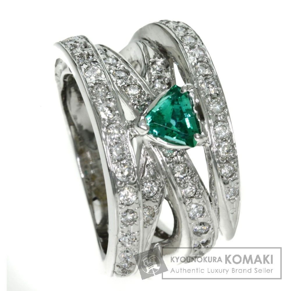 0.517ct エメラルド/ダイヤモンド リング・指輪 K18ホワイトゴールド 21.6g レディース 【中古】