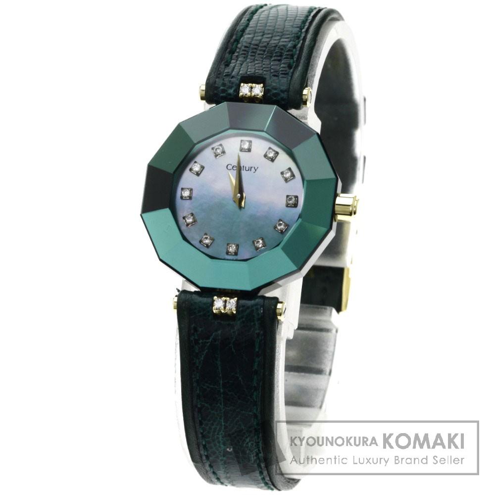 CENTURY プライムタイム ダイヤモンド 腕時計 K18イエローゴールド/革 レディース 【中古】【センチュリー】