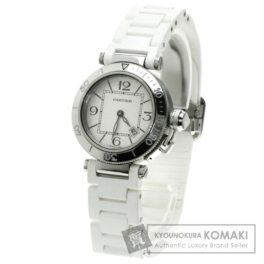 CARTIER W3140002 パシャ シータイマー 腕時計 ステンレス/ラバー レディース 【中古】【カルティエ】