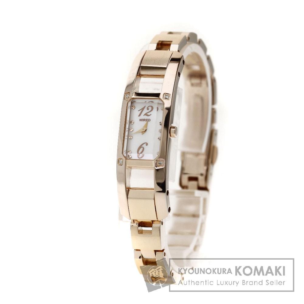 SEIKO AGDK097 ワイアード エフ ダイヤモンド コレクション 4Pダイヤモンド 腕時計 PGP レディース 【中古】【セイコー】