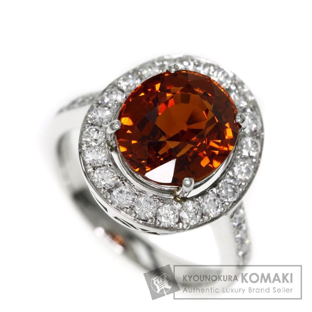 5.93ct スペサルティンガーネット/ダイヤモンド リング・指輪 プラチナPT900 7.4g レディース 【中古】